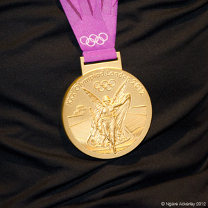 New Zealand Olympic Gold Rowing Medal. Copyright of Ngaire Ackerley, 2012.