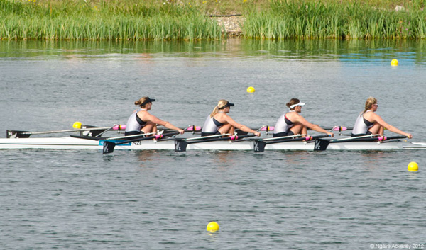 New Zealand's Womens Quadruple Sculls. Copyright of Ngaire Ackerley, 2012.
