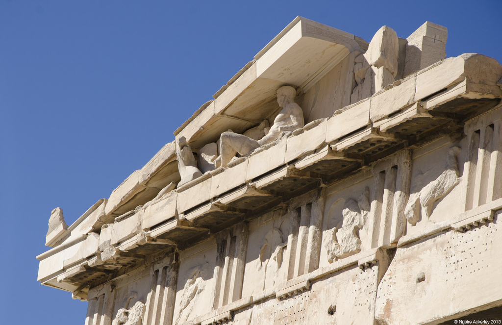 Corner of roof of Parthenon, Acropolis, Athens, Greece