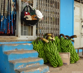 Bananas outside local shop, Uganda.