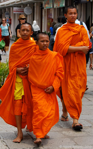 Monks, Bangkok, Thailand.