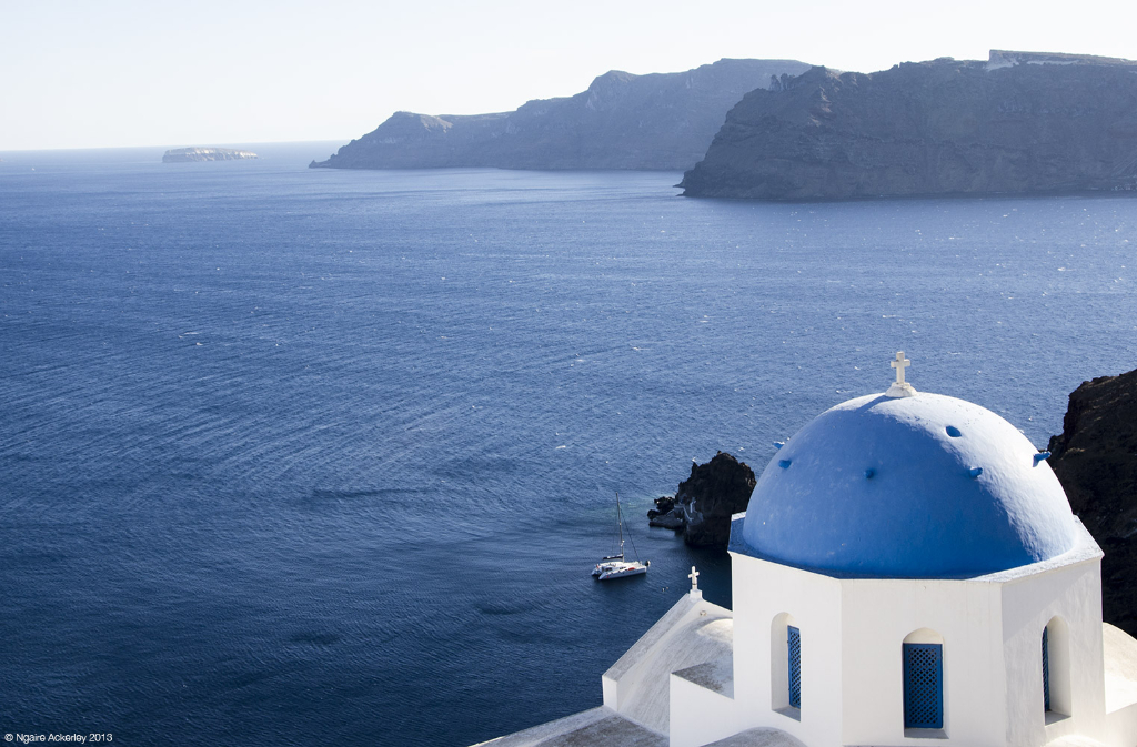Blue dome church in Santorini, Greece