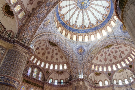 Inside the Blue Mosque, Istanbul, Turkey.