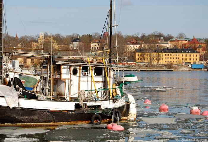 Boat in ice, Stockholm, Sweden.