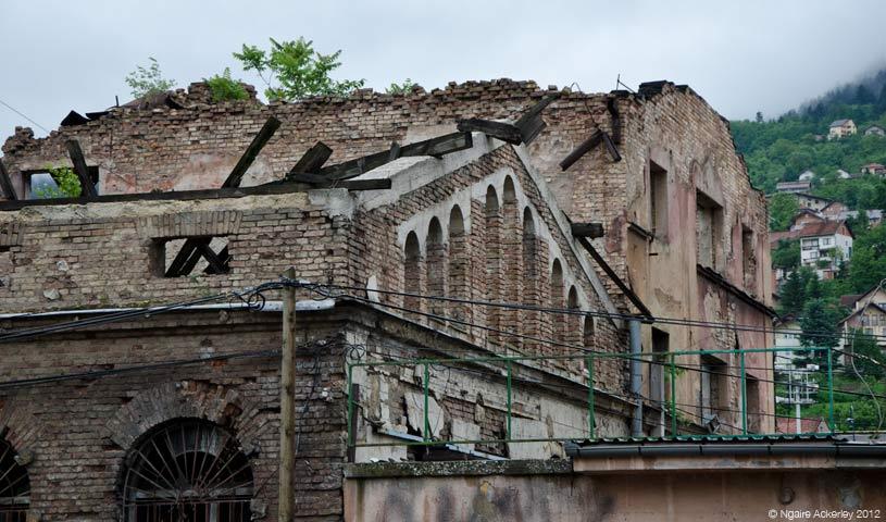 Building damage, Sarajevo, Bosnia and Herzegovina.