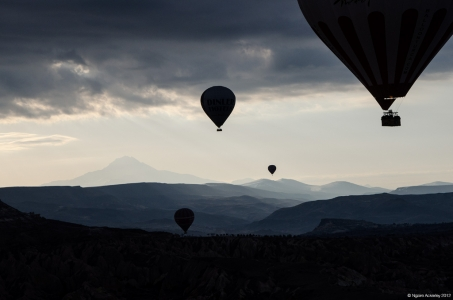 Hot Air Balloons at dawn, Goreme, Cappadocia, Turkey.