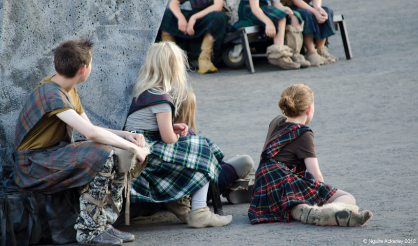 Children watching the military tattoo, Edinburgh, Scotland.