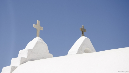 Crosses on a church in Mykonos, Greece