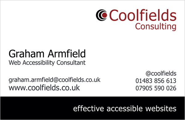 Coolfields Consulting business card