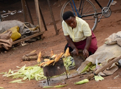 Corn Cooking, Uganda.