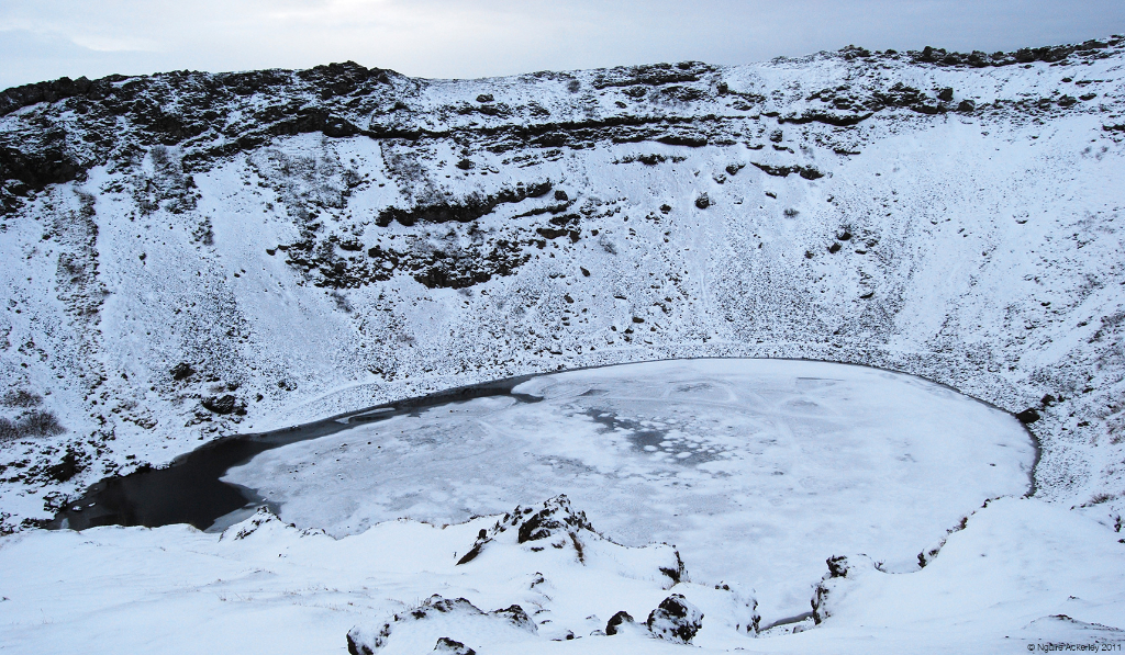 Crater in Winter, Iceland.