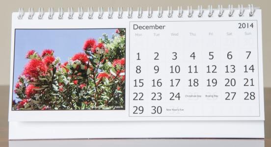 Month of December, 2014 Calendar