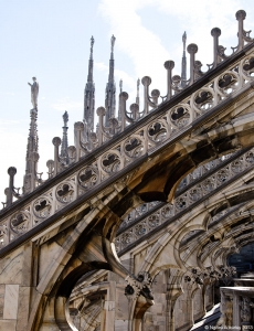 Architecture at the top of the Duomo, Milan, Italy.