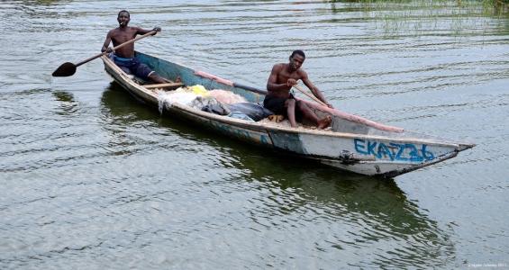 Fishermen on the Kazinga Channel, Queen Elizabeth National Park, Uganda.