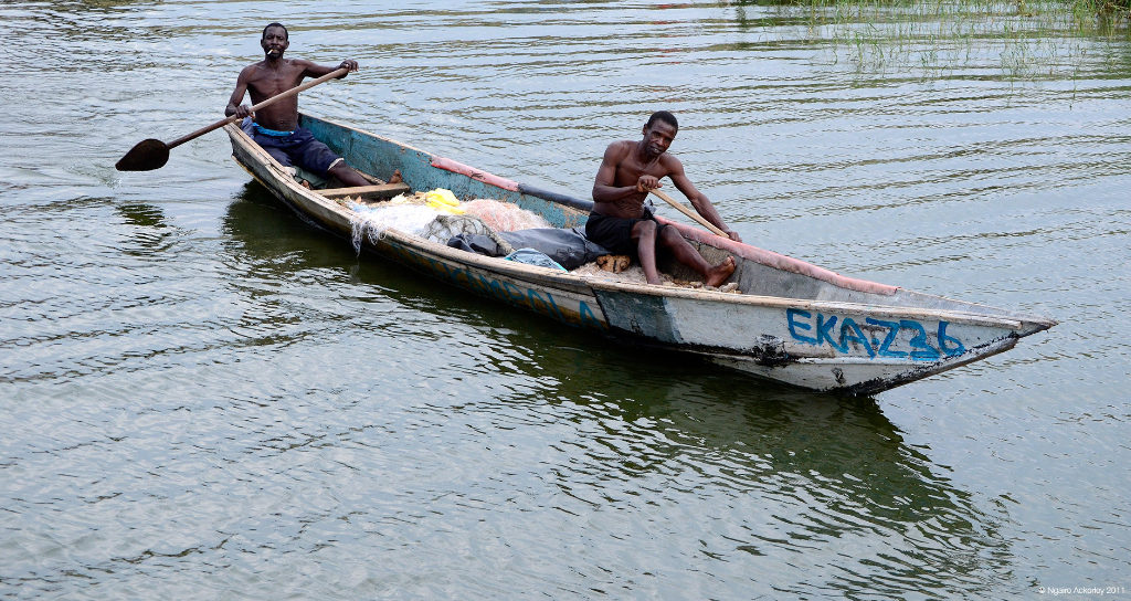 Fishermen on the Kazinga Channel, Queen Elizabeth National Park, Uganda.