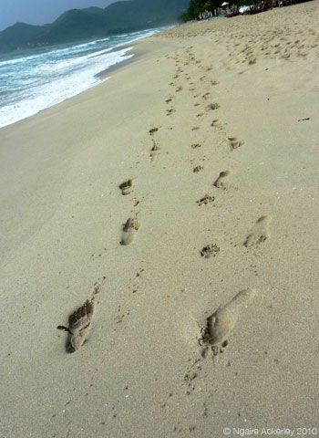 Footprints in the sand, Koh Samui, Thailand.