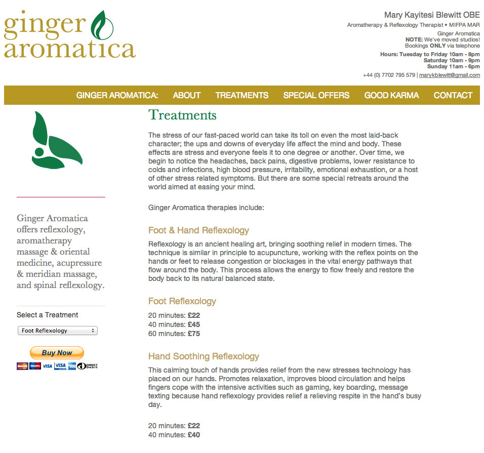 Ginger Aromatica Treatments section