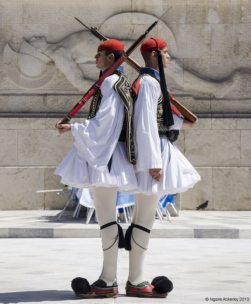Guards outside Parliament in Athens, Greece