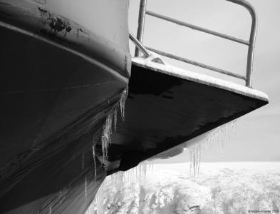 Ice on ship, Tromso, Norway.