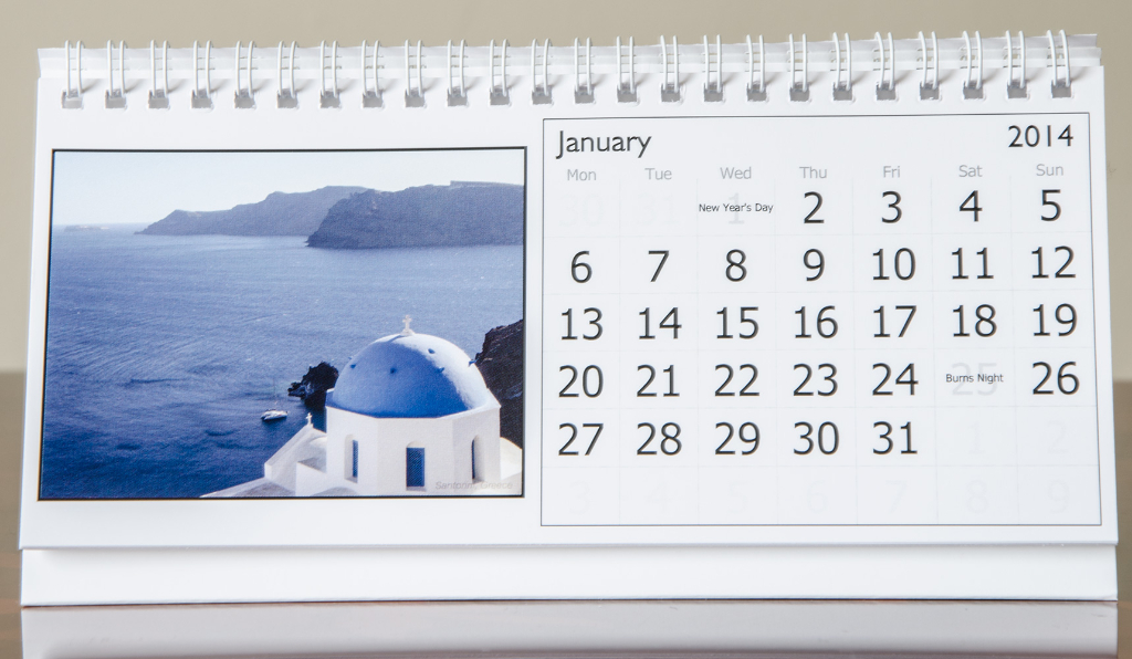 Month of January, 2014 Calendar
