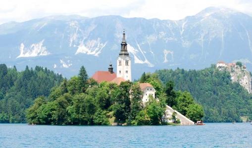 Island in Lake Bled, Slovenia