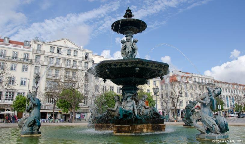 Rossio Square fountain, Lisbon, Portugal.