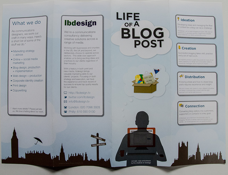 Outside of Life of a Blog Post (front and back and two inside panels)