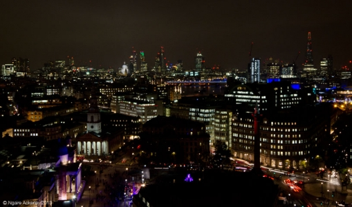 Night view over London, from New Zealand House, England