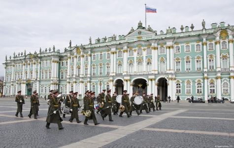 Marching band outside the Hermitage Museum, Saint Petersburg, Russia