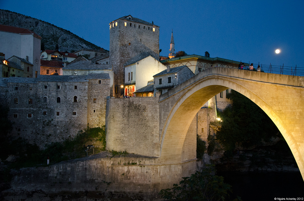 Old Bridge at night, Mostar, Bosnia and Herzegovina.