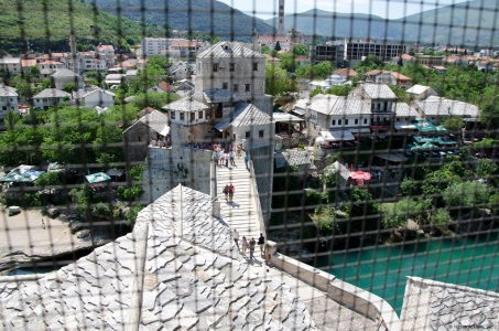 Mostar through wire, Bosnia and Herzegovina