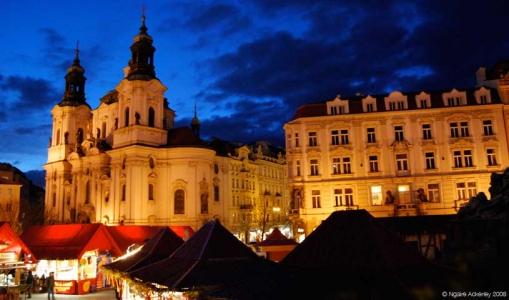 Easter Markets at night, Prague, Czech Republic.
