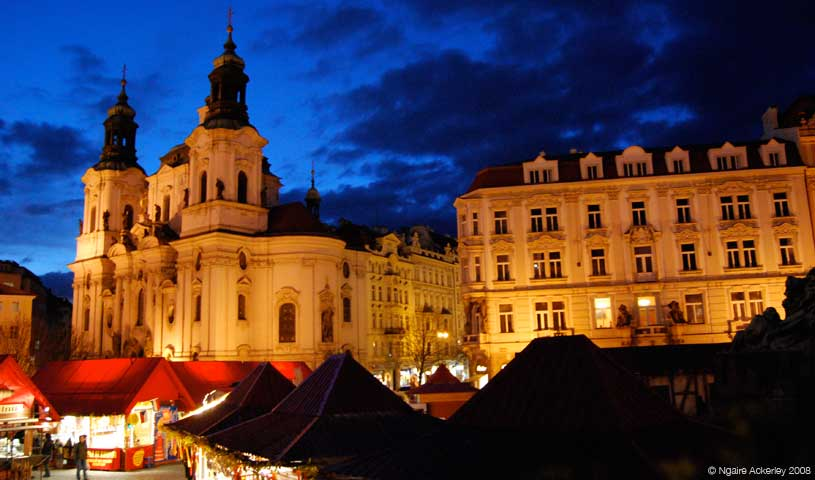 Easter Markets at night, Prague, Czech Republic.