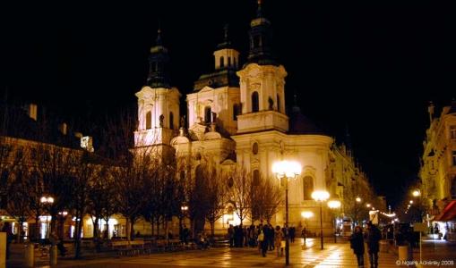St. Nicholas Cathedral by night, Prague, Czech Republic.