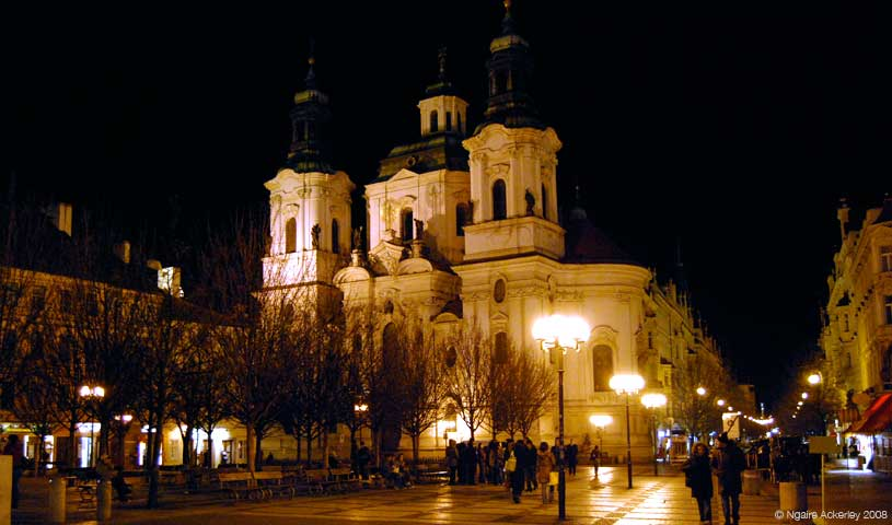 St. Nicholas Cathedral by night, Prague, Czech Republic.