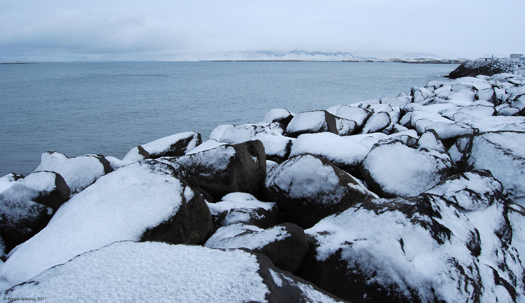 Waterfront in winter in Reykjavik, Iceland.