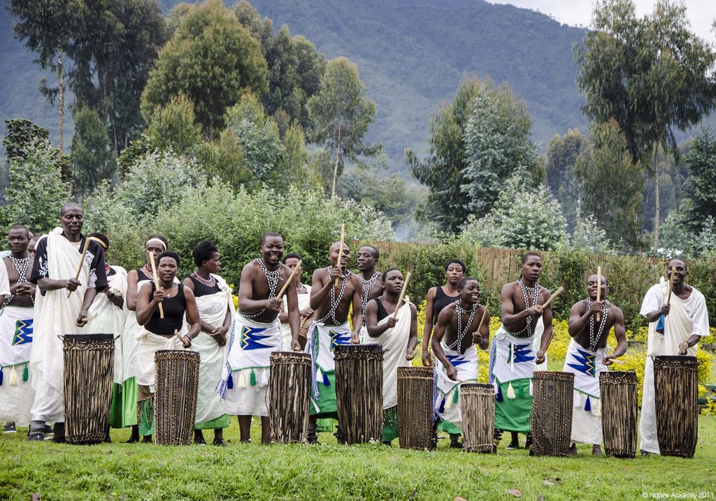 People making music near Volcanoes National Park, Rwanda