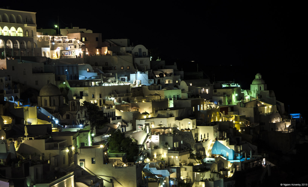 Santorini at night, Greece
