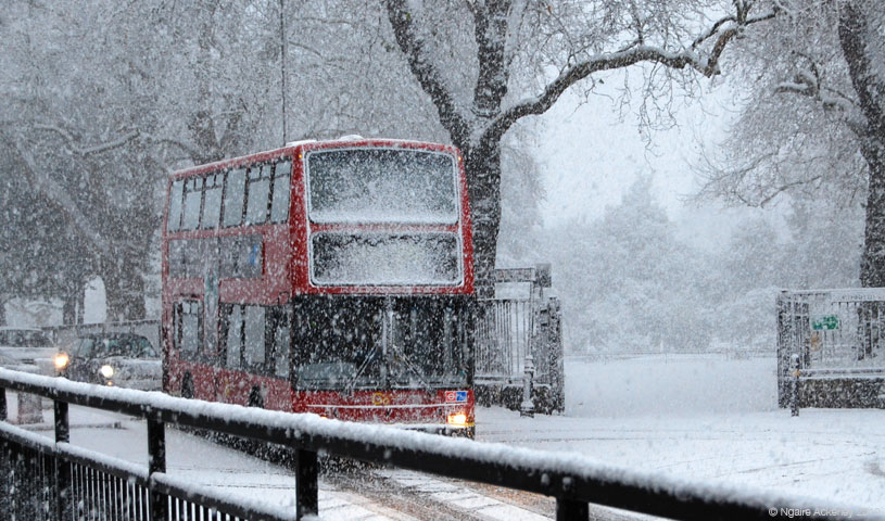Bus in the snow, London, England.