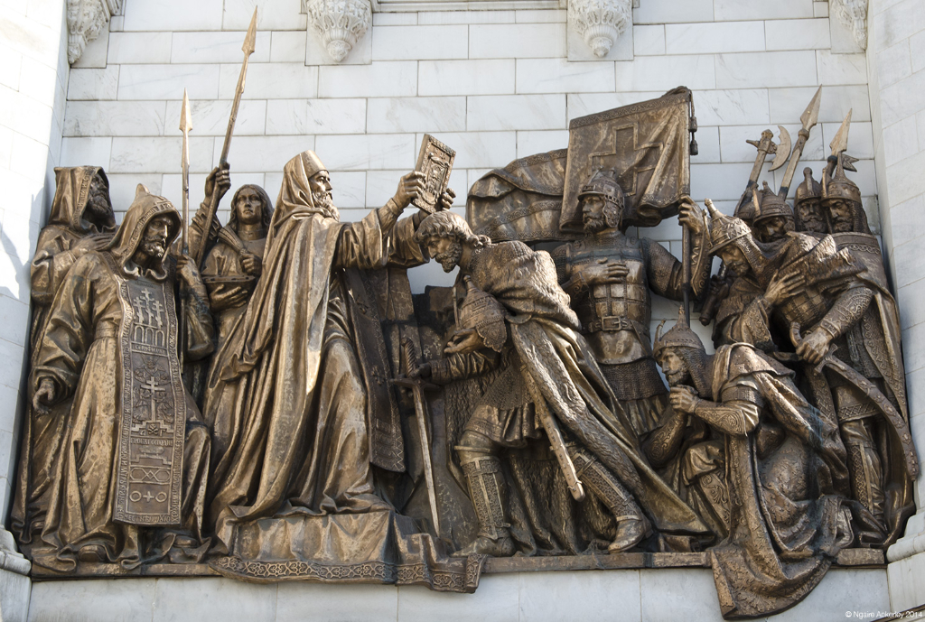 Statues on the Cathedral of Christ the Savior, Moscow, Russia