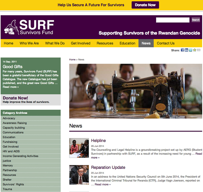 Survivors fund surf website designack design for News section design