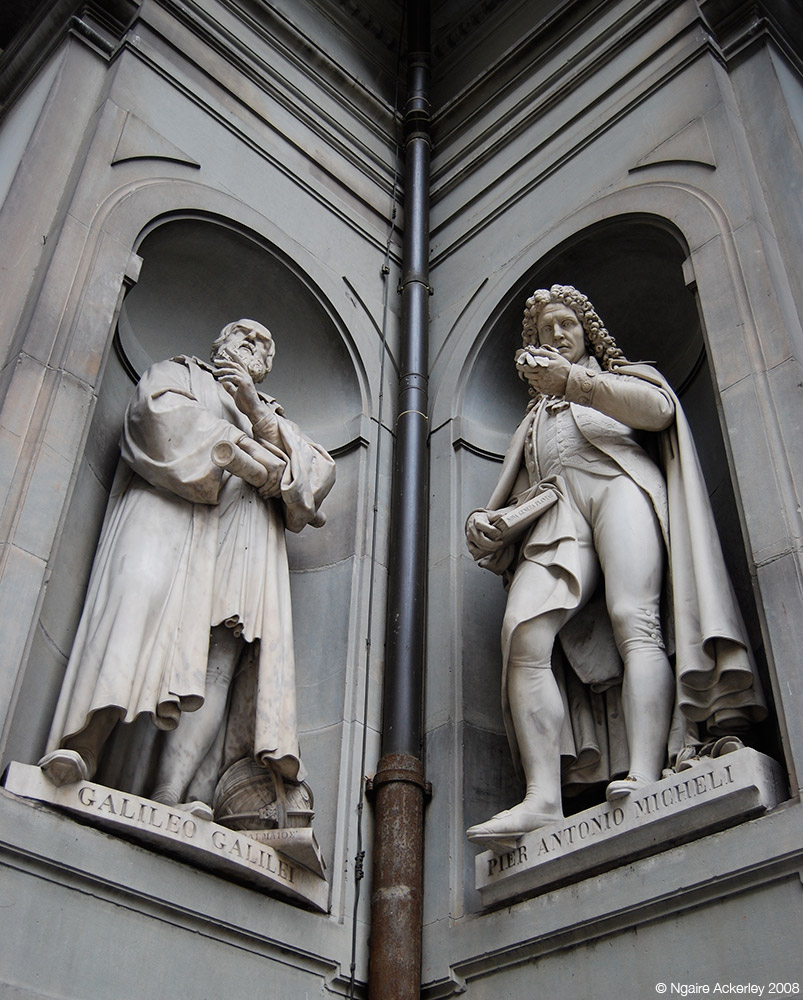Statues at the Uffizi Gallery, Florence, Italy.