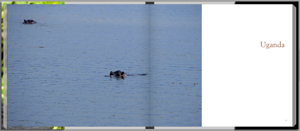 Footprints through East Africa - Uganda intro page with hippos
