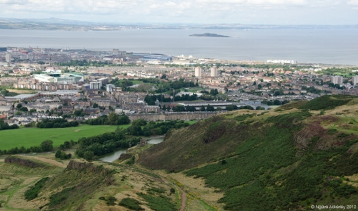 View over Edinburgh from Arthurs Seat. Scotland.