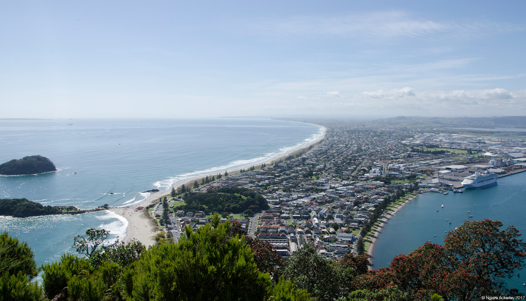 View over Mt. Maunganui township, New Zealand.