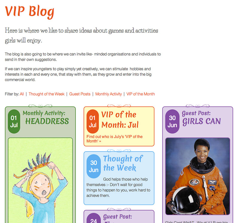 Blog section (below header)