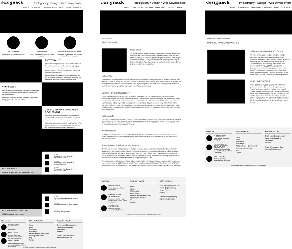 wireframe and design process