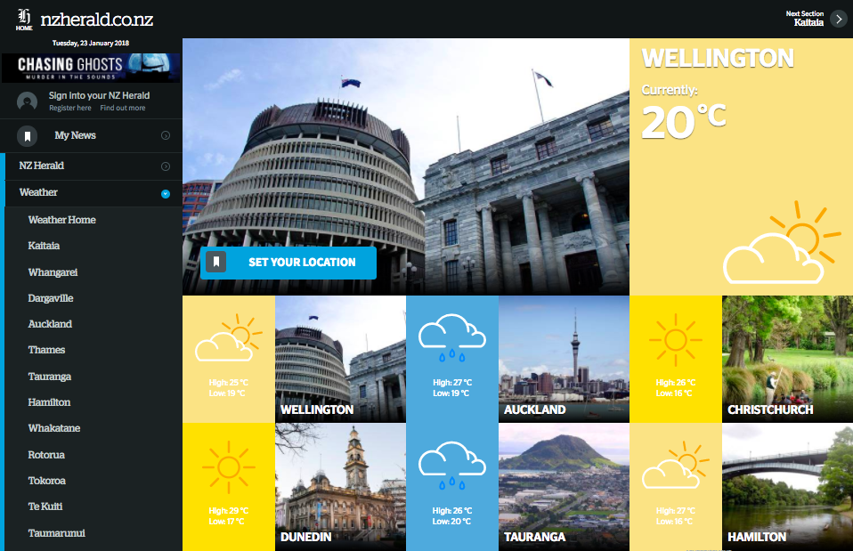 Design of the NZ Herald weather