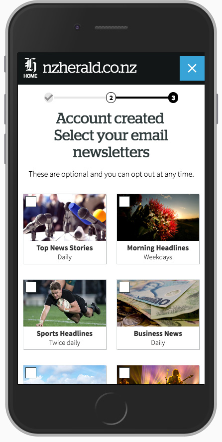 responsive mobile view - select your email newsletters