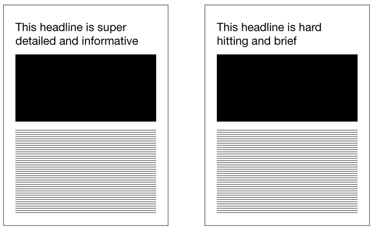 example of headline changes in A/B testing